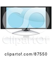 Royalty Free RF Clipart Illustration Of A Modern Television Set With A Blue Screen