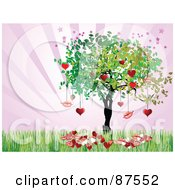 Royalty Free RF Clipart Illustration Of A Love Tree With Hearts And Lips Over Purple