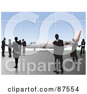 Royalty Free RF Clipart Illustration Of Professional Businsess People In An Airport With A View Of A Plane by leonid