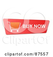 Royalty Free RF Clipart Illustration Of A Red Buy Now Shopping Cart Button by oboy