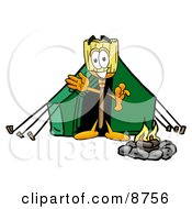 Broom Mascot Cartoon Character Camping With A Tent And Fire