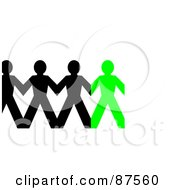 Royalty Free RF Clipart Illustration Of A Rrow Of Black And Green Paper People Holding Hands