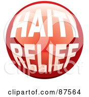 Royalty Free RF Clipart Illustration Of A Shiny Red Haiti Relief Website Button by michaeltravers