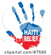 Royalty Free RF Clipart Illustration Of A Red And Blue Haiti Relief Paint Hand Print by michaeltravers