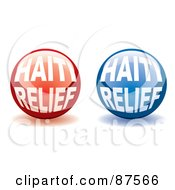 Royalty Free RF Clipart Illustration Of A Digital Collage Of Shiny Red And Blue Haiti Relief Website Buttons With Shadows