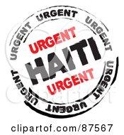 Black And Red Urgen Haiti Danger Stamp