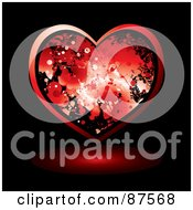 Royalty Free RF Clipart Illustration Of A Red Blood Splatter Heart And Shadow On Black by michaeltravers