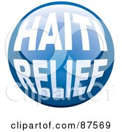 Royalty Free RF Clipart Illustration Of A Shiny Blue Haiti Relief Website Button by michaeltravers
