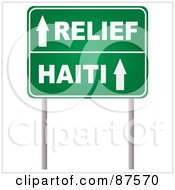 Royalty Free RF Clipart Illustration Of Arrows On A Green Relief Haiti Road Sign by michaeltravers
