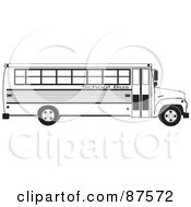 Royalty Free RF Clipart Illustration Of A Black And White Profiled School Bus