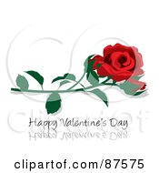 Red Rose And Bud Over A Happy Valentines Day Greeting On Reflective White