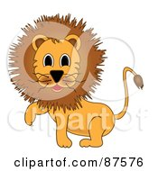 Cartoon Male Lion Lifting One Paw
