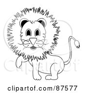 Royalty Free RF Clipart Illustration Of A Black And White Outlined Male Lion Lifting One Paw