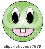 Happy Green Emoticon Face With Teeth