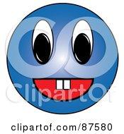 Friendy Blue Emoticon Face With Teeth