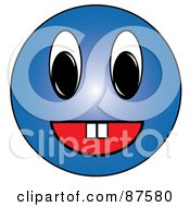 Royalty Free RF Clipart Illustration Of A Friendy Blue Emoticon Face With Teeth