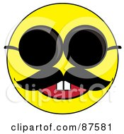 Happy Yellow Emoticon Face With A Mustache Wearing Sunglasses