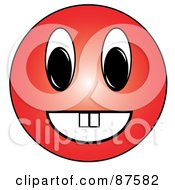 Happy Red Emoticon Face With Teeth