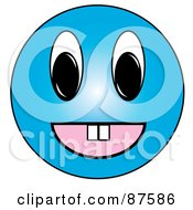 Happy Blue Emoticon Face With Teeth