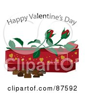 Royalty Free RF Clipart Illustration Of A Happy Valentines Day Greeting Over Roses A Box And Chocolates
