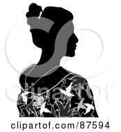 Royalty Free RF Clipart Illustration Of A Black And White Profiled Geisha Woman In A Kimono by Pams Clipart