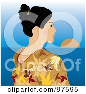 Royalty Free RF Clipart Illustration Of A Geisha Woman In A Kimono Looking Out At The Horizon by Pams Clipart