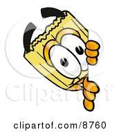 Broom Mascot Cartoon Character Peeking Around A Corner