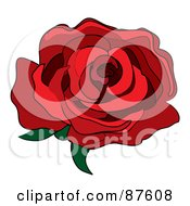Royalty Free RF Clipart Illustration Of A Single Red Rose Fully Bloomed by Pams Clipart