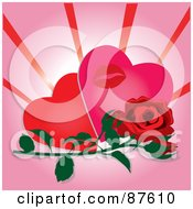 Red Rose And Bud In Front Of Two Hearts And A Lipstick Kiss