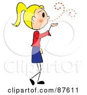 Royalty Free RF Clipart Illustration Of A Sweet Blond Stick Girl Blowing Heart Kisses by Pams Clipart