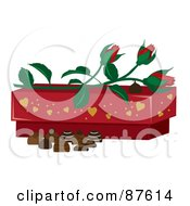 Royalty Free RF Clipart Illustration Of Red Rose Buds On Top Of A Valentines Day Chocolate Box With Candy