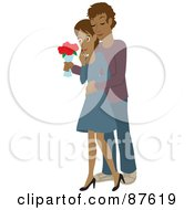 Royalty Free RF Clipart Illustration Of A Romantic Hispanic Man Standing Behind His Wife And Surprising Her With A Bouquet Of Colorful Roses