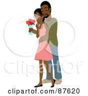 Romantic Indian Man Standing Behind His Wife And Surprising Her With A Bouquet Of Colorful Roses