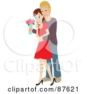 Royalty Free RF Clipart Illustration Of A Romantic Caucasian Man Standing Behind His Wife And Surprising Her With A Bouquet Of Colorful Roses
