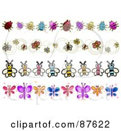 Royalty Free RF Clipart Illustration Of A Digital Collage Of Borders Of Ladybugs And Butterflies