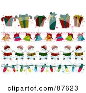 Royalty Free RF Clipart Illustration Of A Digital Collage Of Gift Bell Snowman And Christmas Light Borders