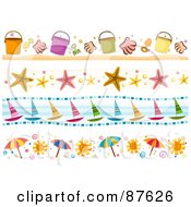 Royalty Free RF Clipart Illustration Of A Digital Collage Of Beach Inspired Borders Of Buckets Starfish Boats And Umbrellas by BNP Design Studio