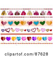 Royalty Free RF Clipart Illustration Of A Digital Collage Of Valentine Heart Borders