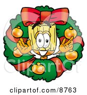Clipart Picture Of A Broom Mascot Cartoon Character In The Center Of A Christmas Wreath