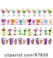 Royalty Free RF Clipart Illustration Of A Digital Collage Of Cocktail Borders Of Alcoholic Beverages