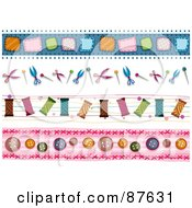 Digital Collage Of Patch Scissors Thread And Button Borders