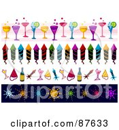Royalty Free RF Clipart Illustration Of A Digital Collage Of Borders Of New Year Cocktails Rockets And Fireworks by BNP Design Studio