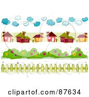 Royalty Free RF Clipart Illustration Of A Digital Collage Of Cloud House Bush And Fence Borders by BNP Design Studio
