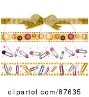 Royalty Free RF Clipart Illustration Of A Digital Collage Of Borders Of Bows Buttons Safety Pins And Paperclips