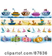 Royalty Free RF Clipart Illustration Of A Digital Collage Of Boat Sailboat And Submarine Borders