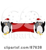 Royalty Free RF Clipart Illustration Of Two Dancing Christmas Penguins Wearing Santa Hats And Holding A Blank Red Banner by BNP Design Studio