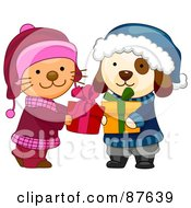 Royalty Free RF Clipart Illustration Of A Cute Puppy And Kitten Exchanging Christmas Presents by BNP Design Studio