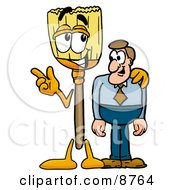 Clipart Picture Of A Broom Mascot Cartoon Character Talking To A Business Man by Toons4Biz