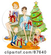 Royalty Free RF Clipart Illustration Of A Happy Caucasian Family Of Four Opening Presents On Christmas Morning