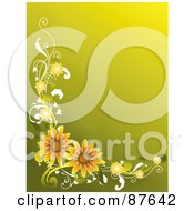 Royalty Free RF Clipart Illustration Of A Green And Yellow Background With A Border Of Orange Flowers And Vines by BNP Design Studio